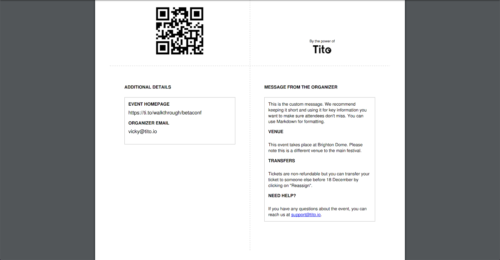 A screenshot of a pdf ticket generated by Tito with a QR code. It has a message from the organizer on one page with the same details as the previous two examples.